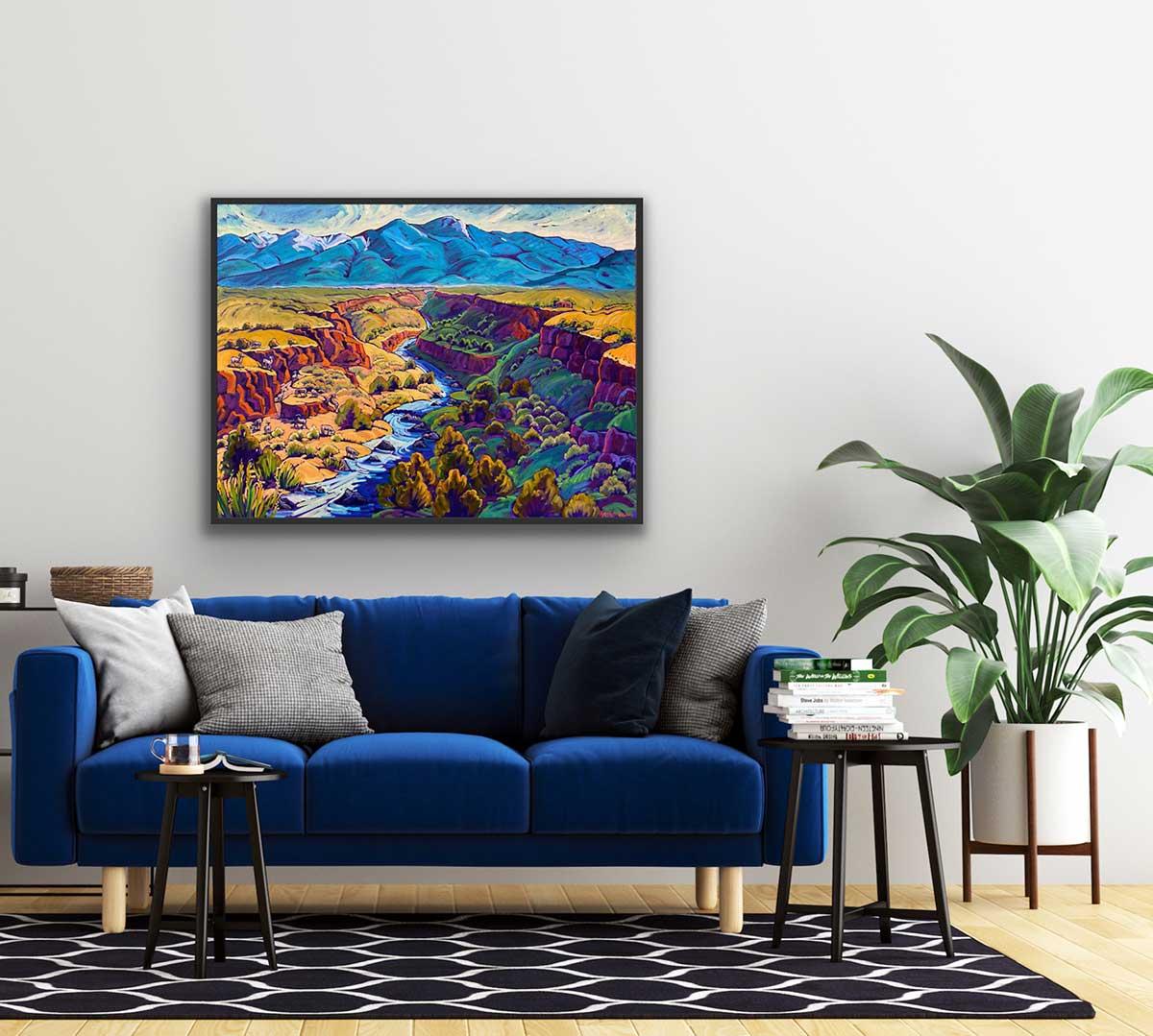 Spring Blue Mountain, Canyon, River, Sky
