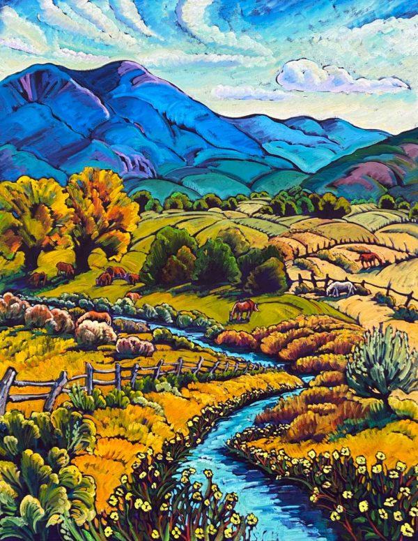 Taos Fields With Meadow Stream