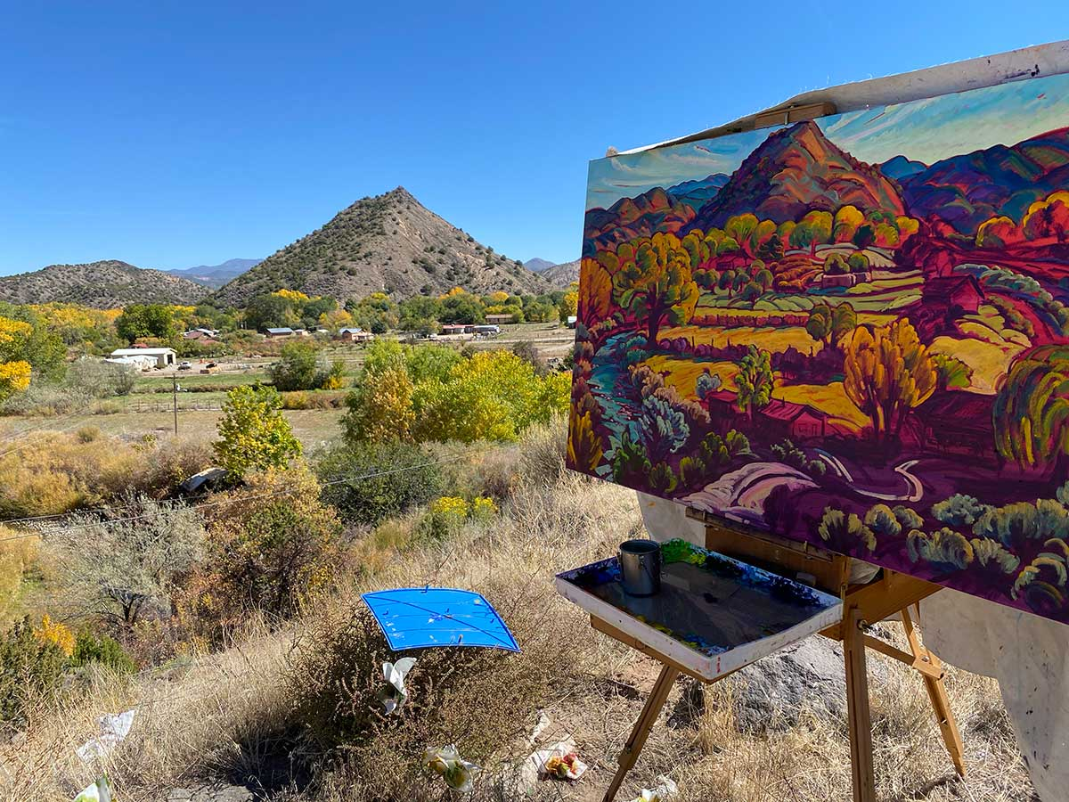 Embudo Valley in Autumn on easel