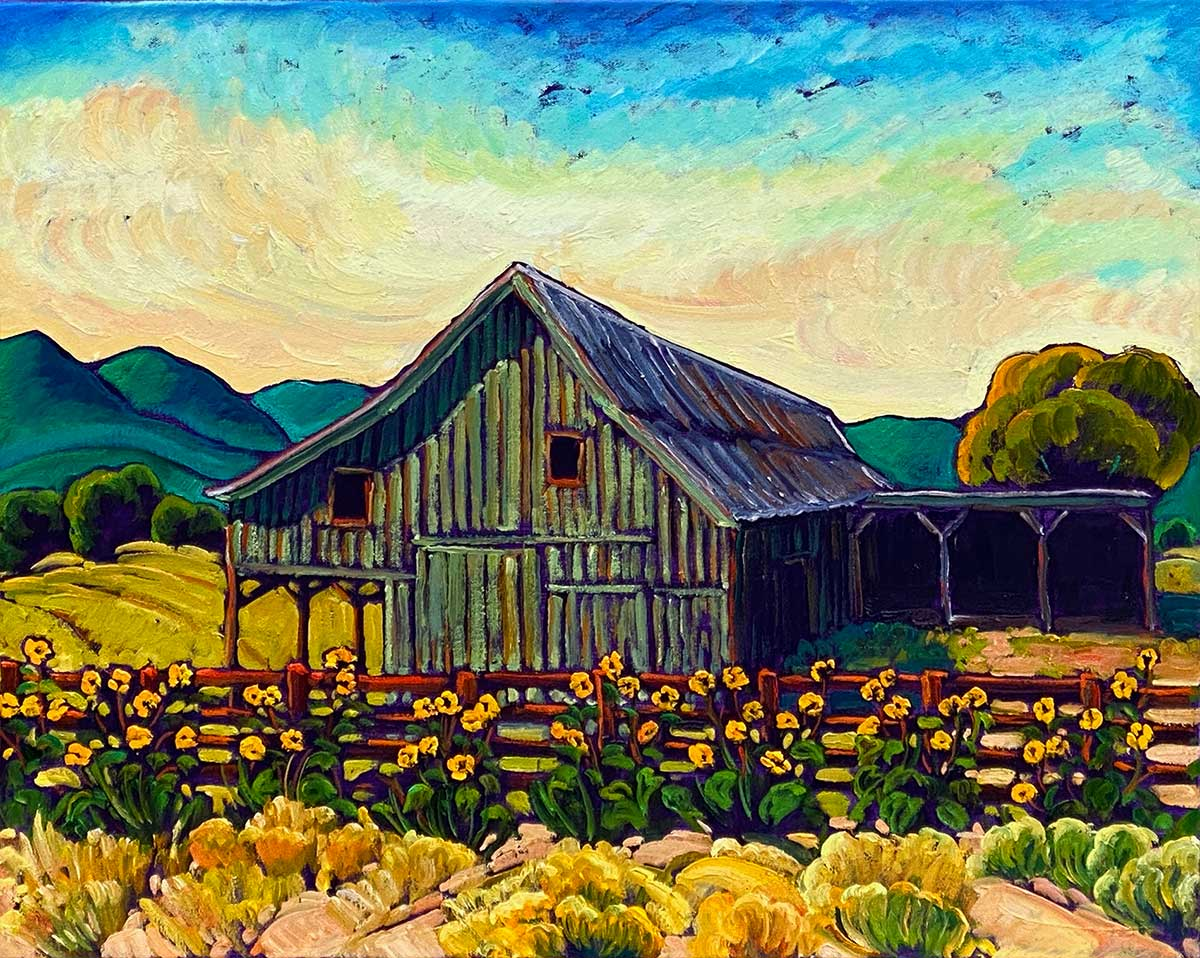 Sunset at Old Colorado Barn With Sunnies