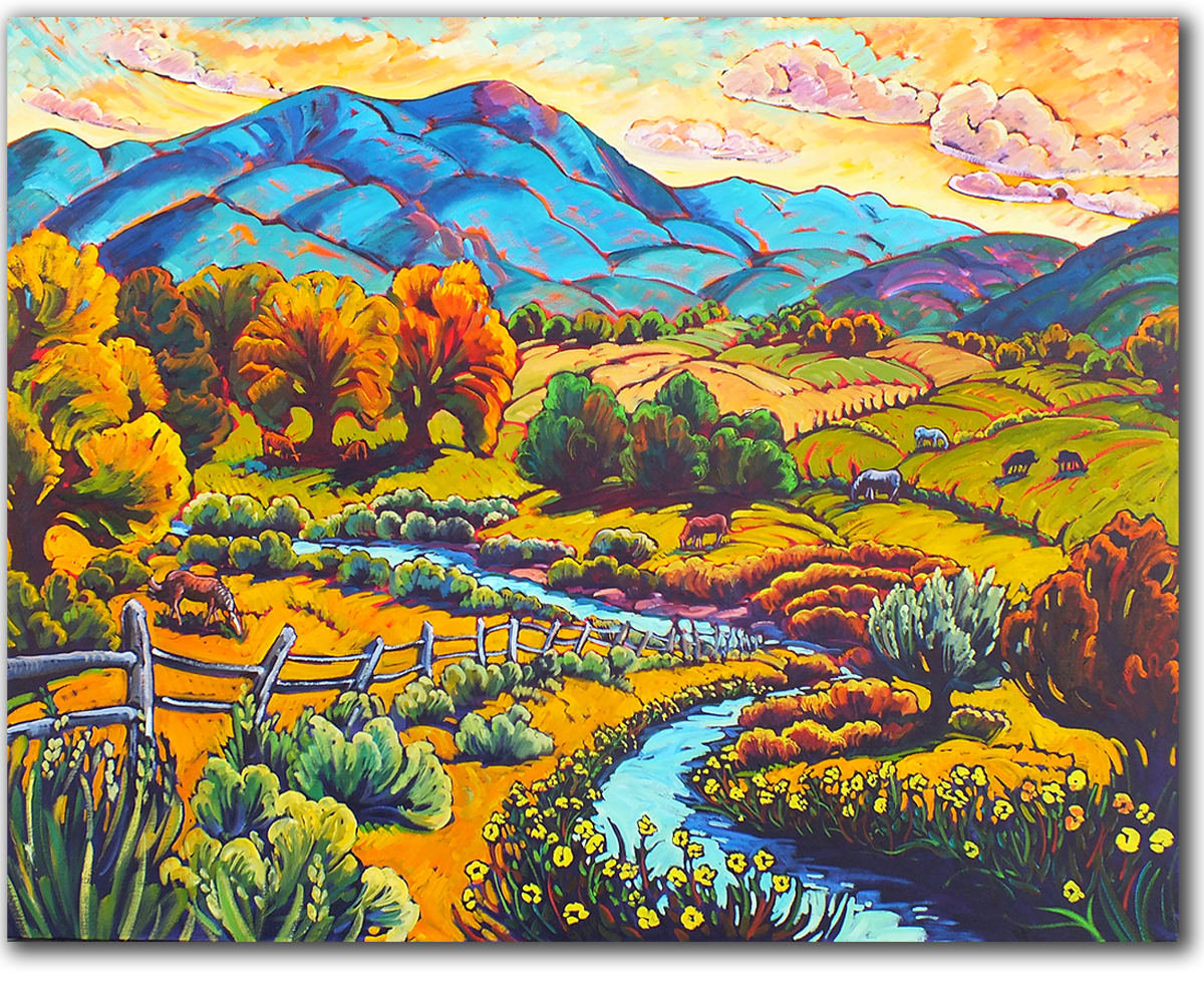 Taos Fields and Meandering Meadow Stream