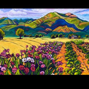 Shadowed Taos Mountain with Garden